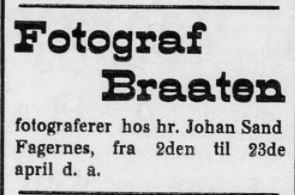 fotograf braaten Valdres 1911.03.25