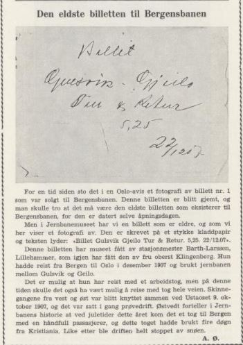 den eldste biletten til Bergensbanen - geilo - gulsvik
