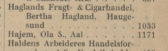 hajem ål Handelsregistre for Kongeriket Norge. 1909