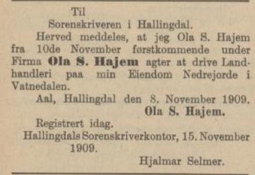 hajem votndalen 1909