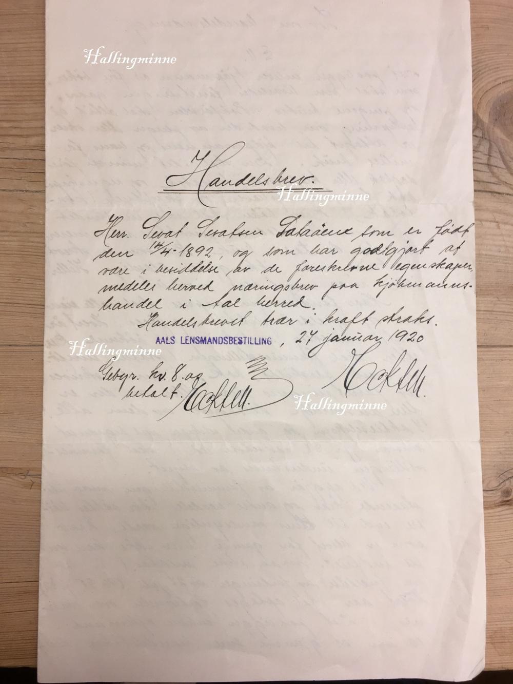 handelsbrev sataøen 1920