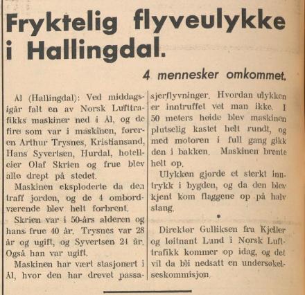 skrien 1935 flyulykka