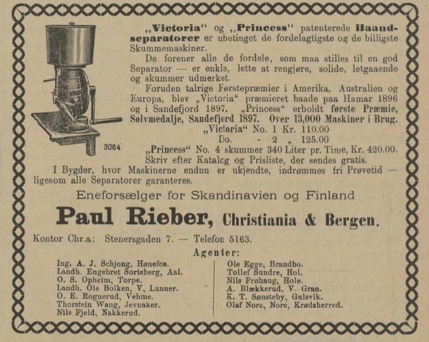 sorteberg separator ringerikes blad 1897