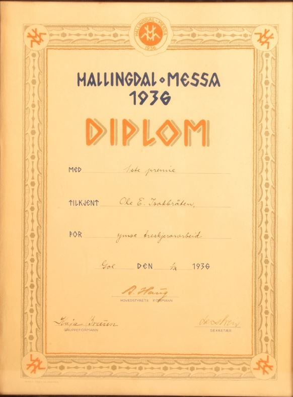 1. premie Hallingdal messa 1936